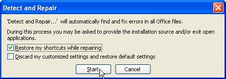 Update and Repair Excel